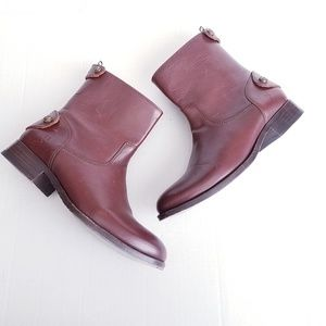 FRYE MELISSA BUTTON SHORT COWBOY BOOTS LEATHER new